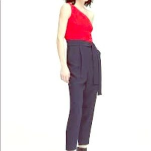 One-shoulder Red&Navy jumpsuit 8T Banana Republic